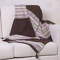 Alpaca blend throw blanket, 'Andean Earth' - Alpaca blend throw blanket