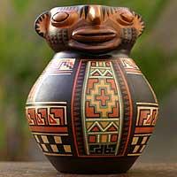 Aged Cuzco vessel, 'Ancestor' - Hand Crafted Cuzco Ceramic Vase