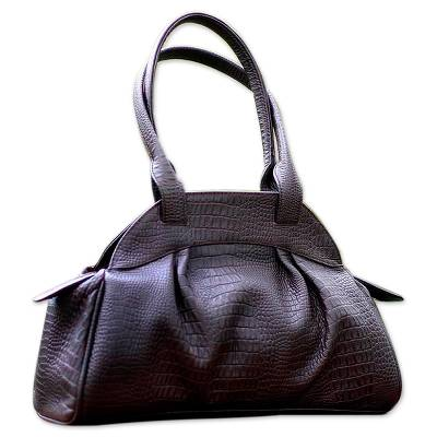 Novica Leather handle handbag, Russet Glamor