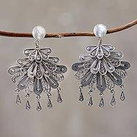 Silver chandelier earrings, 'Floral Dance'