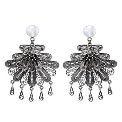 Silver chandelier earrings, 'Floral Dance' - Hand Made Sterling Silver Filigree Chandelier Earrings