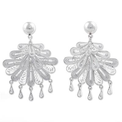 Silver chandelier earrings, 'Silver Dance' - Sterling Silver Filigree Chandelier Earrings