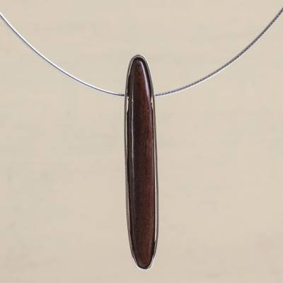 Cedar pendant necklace, 'Forest Fascination' - Unique Women's Modern Wood Sterling Silver Pendant Necklace