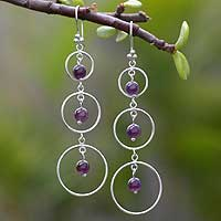 Amethyst chandelier earrings, 'Lilac Chimes' - Peruvian Amethyst and Silver Dangle Earrings