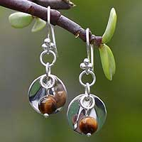 Tiger eye dangle earrings, 'Medallion' - Sterling Silver Dangle Tigers Eye Earrings