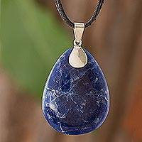 Sodalite long necklace, 'Raindrop' - Sodalite long necklace