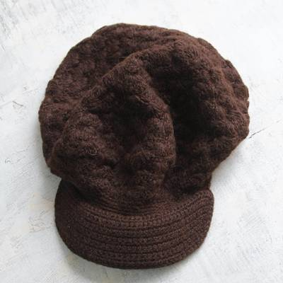100% alpaca hat, 'Chocolate Cap' - 100% alpaca hat
