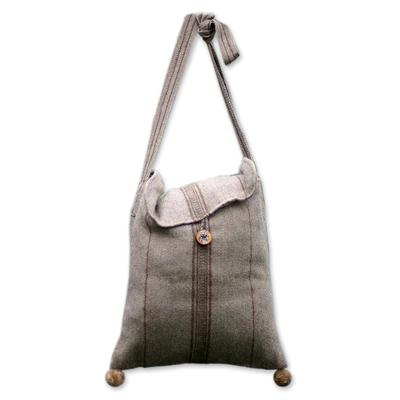 Artisan Crafted Striped Wool Shoulder Bag