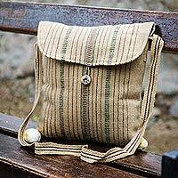 Wool shoulder bag, 'Inca Cream' - Wool shoulder bag