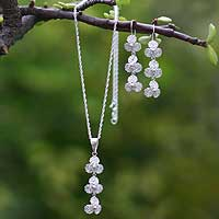 Jewelry set, 'Silver Clovers' - Jewelry set
