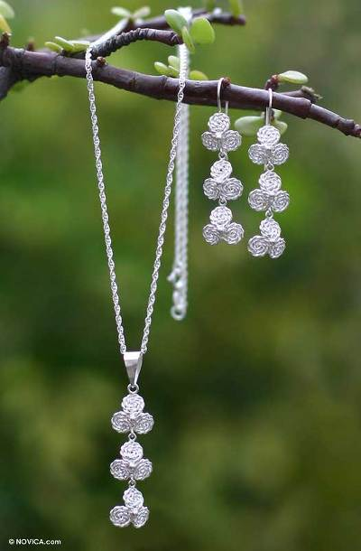 Jewelry set, 'Silver Clovers' - Jewelry set