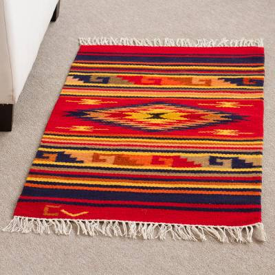 Wool rug, 'Red Star' (2x3) - Handcrafted Geometric Wool Area Rug (2x3)