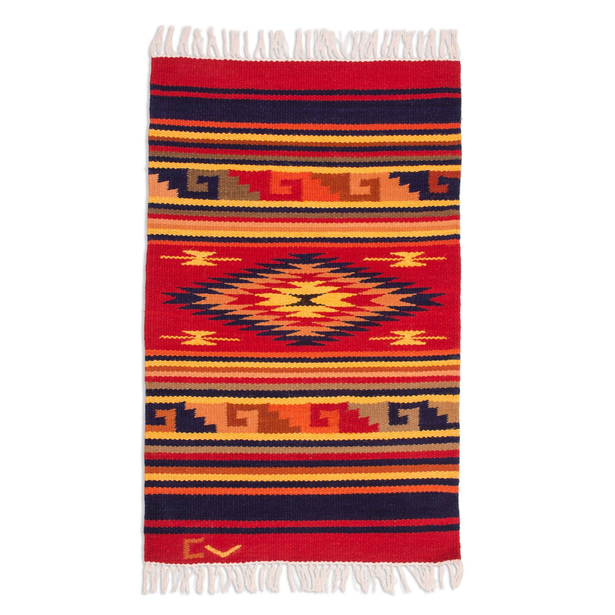 Unicef Uk Market Handcrafted Geometric Wool Area Rug 2x3 Red Star