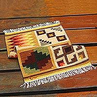 Wool rug, 'Calendar' (2x3)