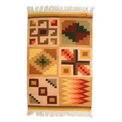 Wool rug, 'Calendar' (2x3) - Geometric Wool Beige Area Rug (2x3)