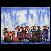 '5000-Meter High Market' - Andean Market Original Painting Peru Art