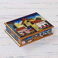 Painted glass jewelry box, 'Village Houses'
