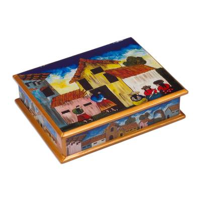 Painted glass jewelry box, 'Village Houses' - Andean Folk Art Handmade Glass jewellery Box