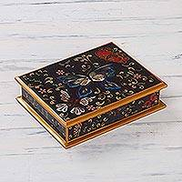 Painted glass jewelry box, 'Night Flutters' - Reverse Painted Glass jewellery Box