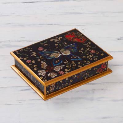 Painted glass jewelry box, 'Night Flutters' - Reverse Painted Glass Jewelry Box