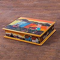 Painted glass jewelry box, 'Mother and Daughter' - Peruvian Reverse Painted Glass Jewelry Box