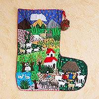 Applique Christmas stocking, 'Manger in Peru'