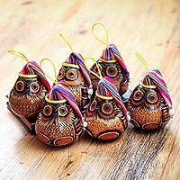 Mate gourd ornaments, 'Christmas Owls' (set of 6)
