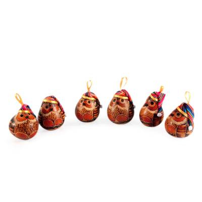 Mate gourd ornaments, 'Christmas Owls' (set of 6) - Christmas Mate - Christmas Mate Gourd Bird Ornament (Set Of 6) - Christmas Owls NOVICA