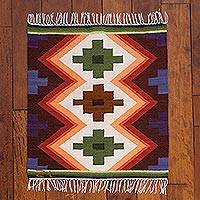Wool rug, 'Inca Cross' (2x2.5)