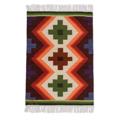 Wool rug, 'Inca Cross' (2x2.5) - Wool Area Rug (2x2.5)