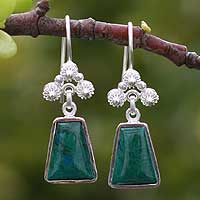 Chrysocolla flower earrings, 'Temple of the Flowers' - Unique Floral Fine Silver and Chrysocolla Earrings