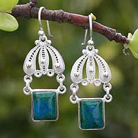Chrysocolla chandelier earrings, 'Swinging in the Rain' - Unique Fine Silver Dangle Chrysocolla Earrings