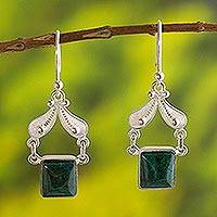 Chrysocolla filigree earrings, 'Falling Leaves' - Handmade Jewelry Fine Silver Dangle Chrysocolla Earrings