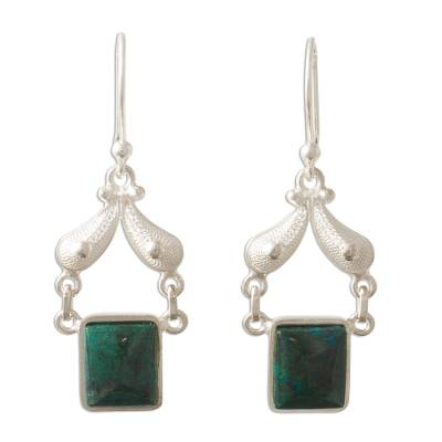 Handmade Jewelry Fine Silver Dangle Chrysocolla Earrings