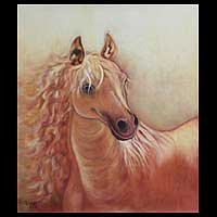 'Horse of the Desert' (2008) - Sorrel Horse Original Oil Painting Peru Fine Art (2008)