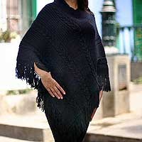 Alpaca blend poncho, 'Double Black Braids'