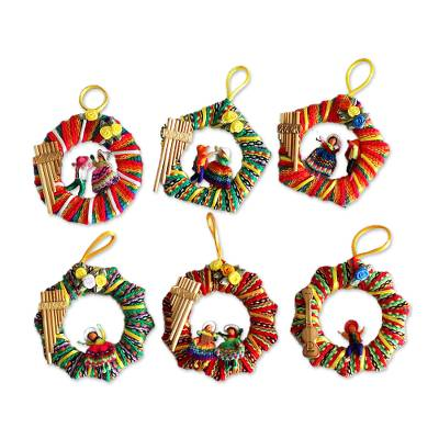 Ornaments, 'Musical Wreath' (set of 6) - Ornaments (Set of 6)