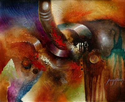 'Toward the Light' - Abstract Original Oil Painting Peru Fine Art