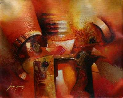 'Symbols' - Totems Original Oil Painting Peru Fine Art
