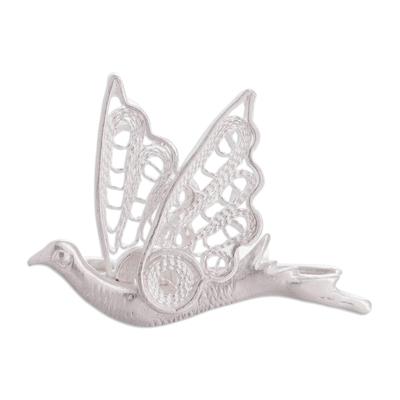 Silver filigree brooch pin, 'Filigree Dove' - Silver filigree brooch pin