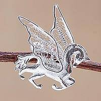 Silver filigree brooch pin, 'Filigree Pegasus'