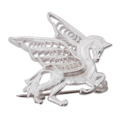 Silver filigree brooch pin, 'Filigree Pegasus' - Hand Made Silver Filigree Brooch Pin