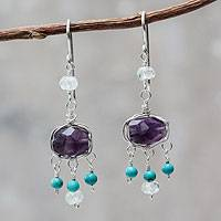 Amethyst and aquamarine chandelier earrings, 'Accountant' - Amethyst and Silver Dangle Earrings