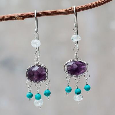 Amethyst and aquamarine chandelier earrings, 'Accountant' - Amethyst and Silver Dangle Earrings