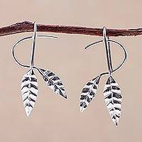 Silver drop earrings, 'Dancing Leaves' - Handcrafted Leaf Fine Silver Drop Earrings