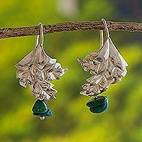 Chrysocolla flower earrings, 'Dearest' - Chrysocolla flower earrings