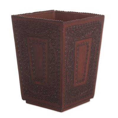 Unicef market hand tooled colonial leather and wood waste basket elegant basket - Elegant wastebasket ...