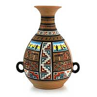 Cuzco vase, 'The Andes' - Hand Painted Cuzco Ceramic Vase