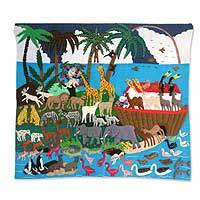 Applique wall hanging, 'Noah's Happy Venture' - Handcrafted Happy Multicolor Animals Wall Hanging