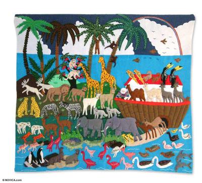 Applique wall hanging, 'Noah's Happy Venture' - Handcrafted Happy Multicolor Animals Wall Hanging